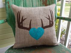 Painted Burlap ANTLERS with HEART Deer Throw Accent Pillow Custom Colors Available Home Decor on Etsy, $24.00