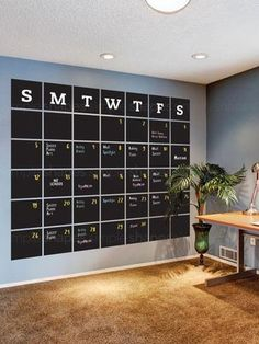 Chalkboard Calendar Wall Decal - Extra Large