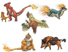 deviantART: More Like Realistic Pokemon Sketches: Fire Starters by ~nauvasca
