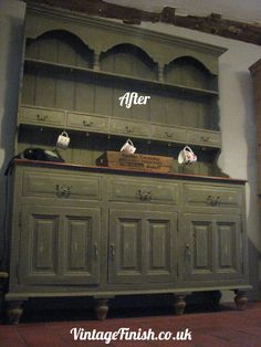 Hand Painted Dresser After, finished in Annie Sloan Olive over Country Grey  and areas of Burgundy