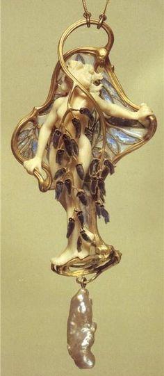 René Lalique. Gold art nouveau pendant with ivory, enamel, plique-à-jour, and freshwater pearl
