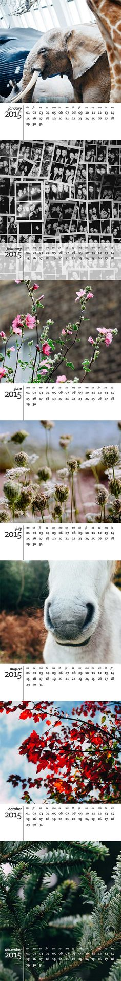 A beautiful free calendar template for 2015