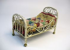 Antique Marklin Germany tin toy all original doll bed with bedding For Sale on Ruby Lane
