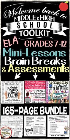 Three of my latest and greatest products bundled here to help make planning your lessons and assessments a breeze! Middle school and secondary mini-lessons, brain breaks, and assessments provide a well-rounded mixture of tools for you. Check it out!