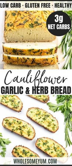 Cauliflower Bread Recipe with Garlic & Herbs - Low Carb Garlic Bread - This cauliflower bread loaf with garlic & herbs makes a keto paleo low carb garlic bread that's healthy & delicious! Great for low carb sandwiches too. Garlic Recipes, Gf Recipes, Bread Recipes, Real Food Recipes, Cooking Recipes, Healthy Recipes, Cauliflower Garlic Bread, Best Cauliflower Recipe, Low Carb Appetizers