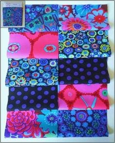 Kaffe Fassett Fabric Material Squares Blues x 10 10cm Quilting Patchwork Craft