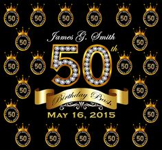 50th Birthday Party Custom Backdrops (Step and Repeat) - Free Shipping by BKreationz on Etsy