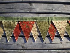 prim christmas garlands | Primitive Fabric Rag Banner Pennant Bunting Garland Photo Prop Merry ...