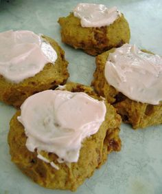 Jo and Sue: Pumpkin Spice Cookies with Toffee Bits; frosting optional of course