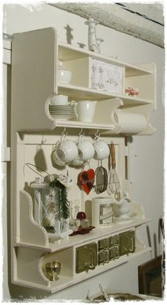 Wall Cupboards, Shabby, Kitchen Storage, Kitchens, Fairy, Miniatures, Holiday Decor, House, Ideas