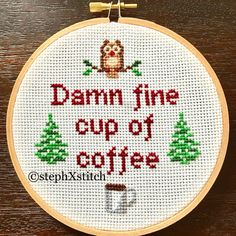 PATTERN Damn Fine Cup of Coffee Twin Peaks Agent Cooper Pop Cultre Cross Stitch Instant Download .PDF Crossstitch by stephXstitch on Etsy https://www.etsy.com/listing/525619975/pattern-damn-fine-cup-of-coffee-twin