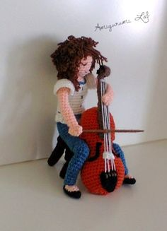 amigurumi crochet music Crochet Music, Crochet Girls, Cello, Diy Gifts, Crochet Projects, Crochet Necklace, Crochet Patterns, Create, People