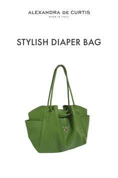 Are you looking for a stylish leather diaper bag? Click through to check out this designer diaper bag handmade in Italy! Alexandra de Curtis #leatherbags #designerleatherbag #diaperbag Italian Leather Handbags, Designer Leather Handbags, Leather Diaper Bags, Italian Street, Baby Diaper Bags, How To Make Handbags, One Bag, Green Bag, Italian Fashion