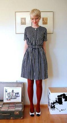 Moda outono/inverno - Como usar meia-calça vermelha