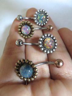 Fire Opal Flower Daisy Belly Button Ring Navel Piercing Stud Bar Barbell Pink Blue Bronze Antique Silver Brass