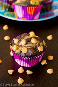 Skinny Chocolate Peanut Butter Swirl Cupcakes by sallysbakingaddiction.com