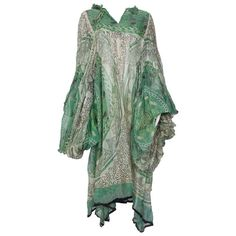 Rare 1969 First Collection Zandra Rhodes Ivory and Green Silk Tunic Long Sleeve Tunic, Long Sleeve Tops, Green Tunic, White Tunic, Zandra Rhodes, Designer Evening Dresses, Silk Tunic, Embroidered Tunic, Green Silk