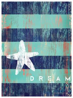DREAM w/ Starfish Artwork: Beach House Decor, Coastal Decor, Nautical Decor, Coastal Living Boutique, Tropical Decor