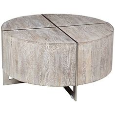 Desmond Hand-Distressed Wood Round Coffee Table