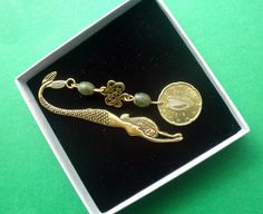 Irish Bookmark, Teacher's Gift, Antiqued Gold finish Mermaid with Connemara Marble Beads, Celtic Knot and Nordic Gold Coin. Guinness Brewery, Irish Mythology, Irish Pride, Connemara, Celtic Knot, Dublin, Antique Gold, Teacher Gifts, Heart Ring