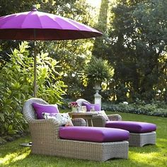 Relax in style with outdoor furniture from Crate and Barrel. Shop for patio furniture including tables, chairs and sofas from our outdoor living collection. Purple Love, All Things Purple, Purple Stuff, Purple Rain, Purple Umbrella, Garden Furniture, Outdoor Furniture Sets, Outdoor Decor, Rattan Furniture