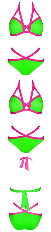 Green Strappy Halter Bikini