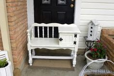 Found one just like this at a thrift store today!  Can't wait to refurbish it!  Telephone Bench