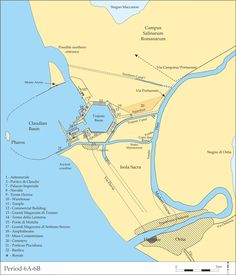 A map created by the Portus Project shows Ostia and the port complex at Portus, and many of its major features around the 5th century A.D., shortly before maritime activity there began to decline.