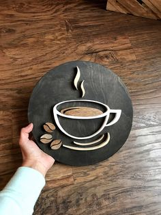 CAFE | Coffee Cup Decor - coffee shop decor - coffee themed decor - coffee bar - wood sign - cafe decorations - business decor - wood art by KINGCollective on Etsy #AwesomeOutdoorWoodworkingGarage