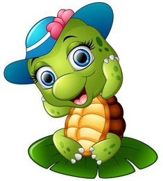 Illustration of Happy turtle with blue cap on the lotus leaf vector art, clipart and stock vectors. Cute Cartoon Pictures, Cartoon Pics, Cartoon Art, Cute Pictures, Happy Turtle, Turtle Love, Cute Turtle Cartoon, Turtle Images, Cute Turtles