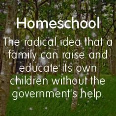 I think it should be  Public School:  The radical idea that the government is better equipped to teach and train children than their own parents.