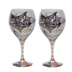 ArtisanStreets Halloween Balloon Wine Glasses. Black & Orange Spiders & Web Design. Set of 2. Hand P @ niftywarehouse.com #NiftyWarehouse #Halloween #Scary #Fun #Ideas