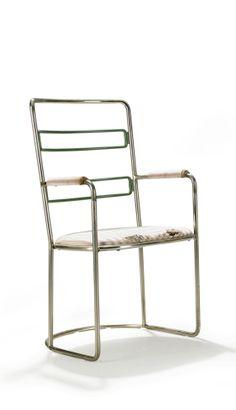 Axel Einar Hjorth; Chromed and Enameled 'Steel' Chair for Nordiska Kompaniet, c1930.