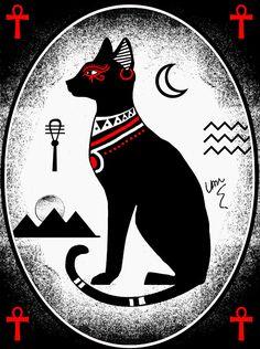Bastet by Van Burmann Egyptian Cat Goddess, Egyptian Cats, Egyptian Symbols, Ancient Egyptian Art, Bastet Goddess, Egyptian Mythology, Bastet Tattoo, Egypt Flag, Hurghada Egypt