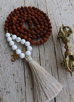 Mala Rudraksha Necklace Howelite Beads Om Charm by JivalaJewelry