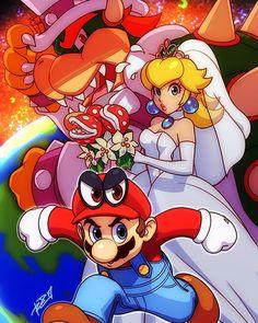 "5,877 Likes, 45 Comments - Robaato (@robaatox) on Instagram: ""Happy #SuperMarioOdyssey day! ⭐ #Mario #PrincessPeach #Bowser"""