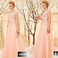 Beautiful Pink Sequined Tulle Cap Sleeve Evening Ball Gown Dress Store SKU-122840