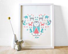 Owl Friends Screenprint, Poster, Nursery Art, Forest Theme. $30.00, via Etsy.