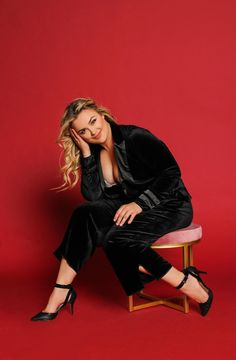 371b7579227 This black velvet smoking jacket blazer with satin trim   side split gauchos  are a sophisticated option for women. Available in plus sizes from Standards  ...