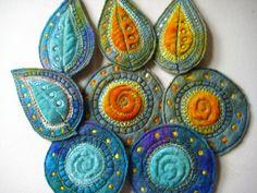 fabric art leaves
