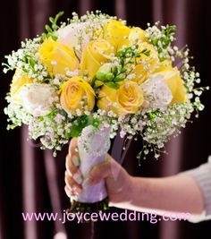 The fillers of and add an accent to the bouquet. Simple Wedding Bouquets, Yellow Wedding Flowers, Prom Flowers, Bridal Flowers, Prom Bouquet, Bride Bouquets, Flower Bouquet Wedding, Yellow Rose Bouquet, Yellow Bouquets