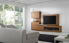 Composición de muebles con panel para colgar la televisión