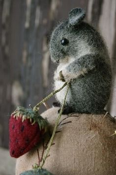Felted Soft Sculpture Fiber Art of a ~ 'Mouse Holding a Wild Strawberry' via 'indulgy.com' ★♥★AWESOME WORK~WOW!-LOVE!★♥★