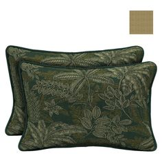 Bombay Outdoors Palmetto Green Reversible Outdoor Lumbar Pillow (2-Pack), Foliage Green