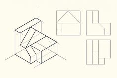 Autocad Isometric Drawing, Isometric Drawing Exercises, Isometric Art, Drawing Lessons, Drawing Techniques, Orthographic Drawing, Geometry Activities, Interesting Drawings, Concept Draw
