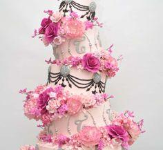 Topsy Turvy Pink Flowers Elegant Cake