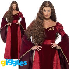Medieval Queen Deluxe Costume, Red, with Dress, Belt and Headpiece. x small. Bust Waist Hip. Young Female. Us / 10 - 12. EU / 56 - 58 51 - 53 130 - 135 43 - 46 109 - 117 54 - 56 137 - 142. Us / 26 - 28. | eBay!