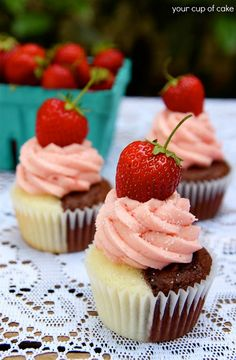 Cupcake Recipes | Delicious Cupcake Ideas: Neapolitan Cupcakes