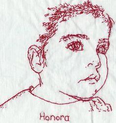 portrait in redwork