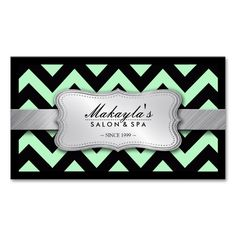 Elegant Pastel Green and Black Chevron Pattern Double-Sided Standard Business Cards (Pack Of 100). Make your own business card with this great design. All you need is to add your info to this template. Click the image to try it out!